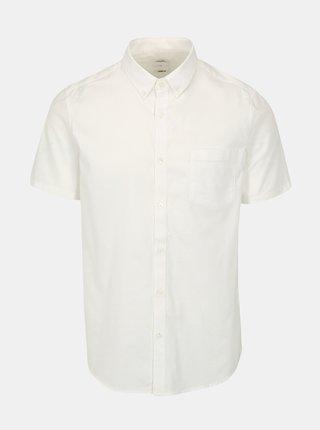 Krémová skinny fit košile Burton Menswear London