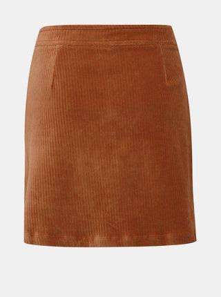Hnědá manšestrová sukně ONLY Fenja