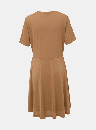 Hořčicové žíhané šaty VERO MODA Cira