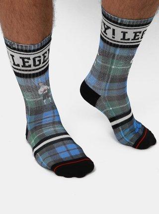 Zeleno-modré pánske kockované ponožky XPOOOS
