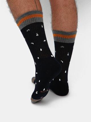 Tmavomodré pánske vzorované ponožky XPOOOS