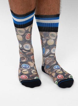 Hnedé pánske vzorované ponožky XPOOOS