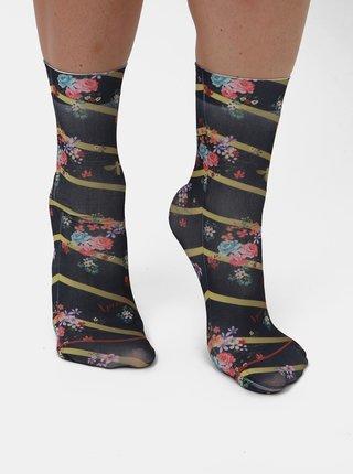 Tmavě modré dámské květované ponožky XPOOOS