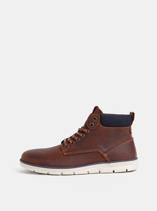 Hnedé pánske kožené členkové topánky Jack & Jones Tubar