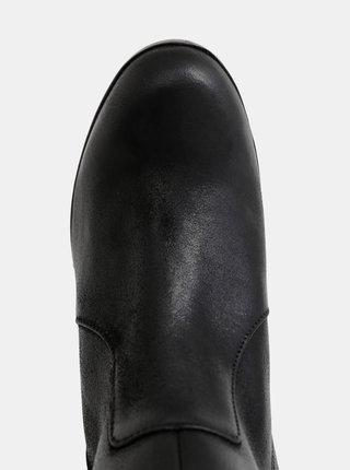 Čierne dámske kožené členkové topánky Geox Aneeka
