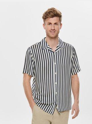 Tmavomodrá pruhovaná regular fit košeľa ONLY & SONS Wayne