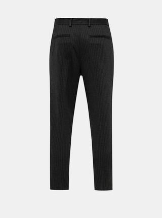 Tmavě šedé pruhované slim fit kalhoty Selected Homme New Jersey