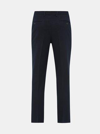 Tmavomodré pruhované slim fit nohavice Selected Homme Kent