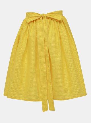 Žlutá puntíkovaná kolová sukně MONLEMON