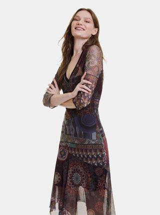 Vínové vzorované šaty Desigual Roseville