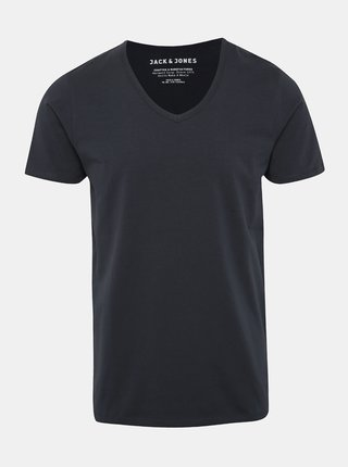 Tmavomodré basic tričko s véčkovým výstrihom Jack & Jones Basic