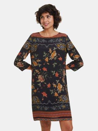 Černé květované šaty Desigual Praga