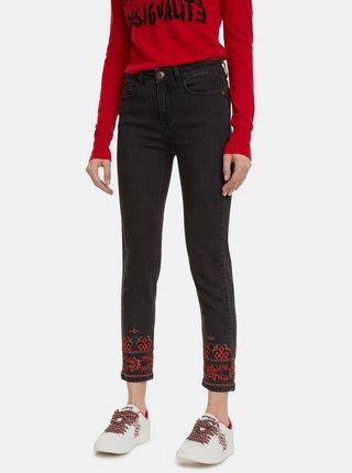 Černé zkrácené skinny fit džíny s výšivkou Desigual Calipso