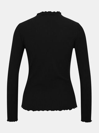 Černé žebrované tričko ONLY Emma