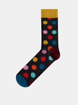 Tmavě šedé pánské puntíkované ponožky Happy Socks Big Dot