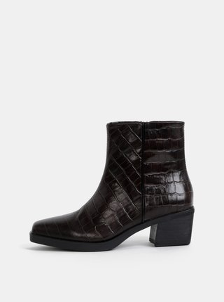 Tmavě hnědé dámské kožené kotníkové boty s krokodýlím vzorem Vagabond Simone