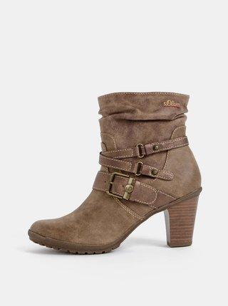 Svetlohnedé dámske členkové topánky s.Oliver
