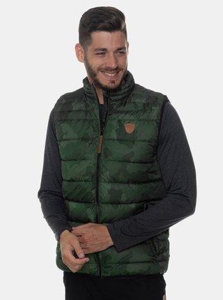 Khaki pánská vzorovaná prošívaná vesta SAM 73