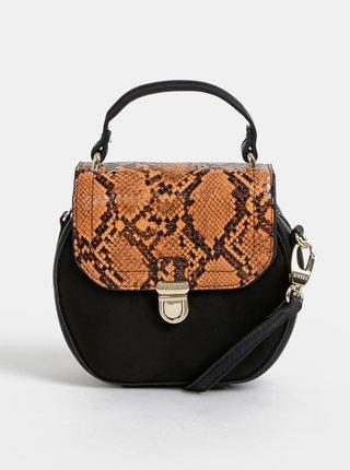 Černá crossbody kabelka v semišové úpravě s hadím vzorem Bessie London