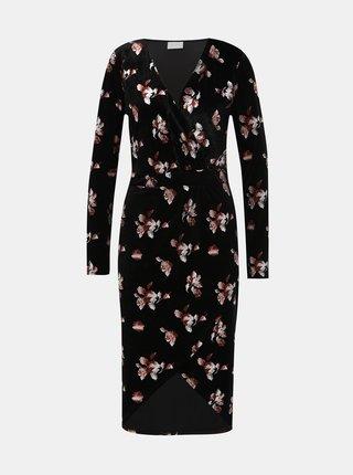 Černé květované sametové pouzdrové midi  šaty VILA Jakabi