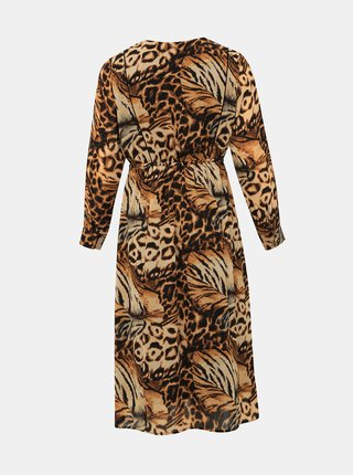 Hnedé šaty s leopardím vzorom Zizzi Povla