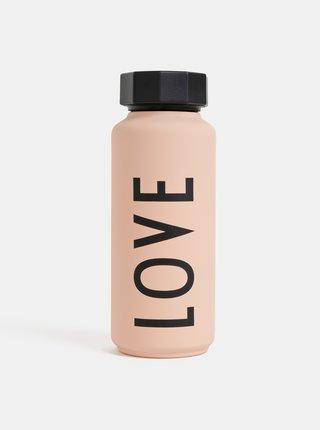 Svetloružová termo fľaška Design Letters Love