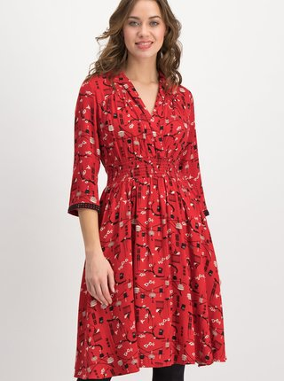 Červené vzorované šaty Blutsgeschwister Crowned Heart