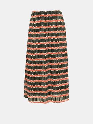 Oranžovo-zelená vzorovaná midi sukňa ONLY Sheri
