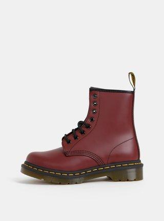 Vínové dámské kožené kotníkové boty Dr. Martens 1460 Smooth