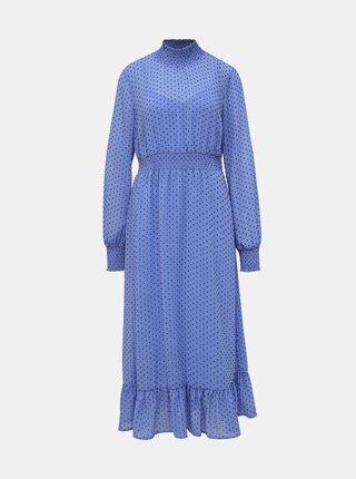 Modré puntíkované midi šaty VILA
