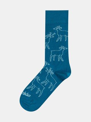 Modré vzorované ponožky Fusakle Srnky