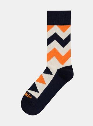 Krémové vzorované ponožky Fusakle Cikcak svetly