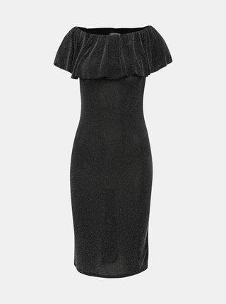Čierne púzdrové šaty s metalickým efektom Haily´s Milena