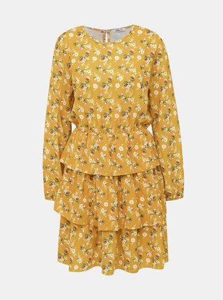 Hořčicové květované šaty Haily´s Anni