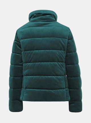 Tmavě zelená dámská sametová prošívaná zimní bunda Haily´s Velvet
