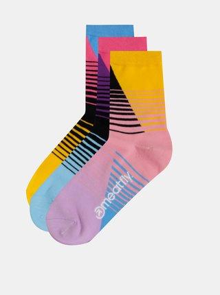 Sada tří párů dámských pruhovaných ponožek v růžové, modré a žluté barvě Meatfly Color