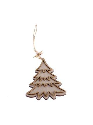 Hnedá drevená závesná vianočná dekorácia Dakls