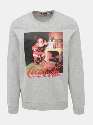 Šedá mikina s vianočným motívom ONLY & SONS Coca Cola