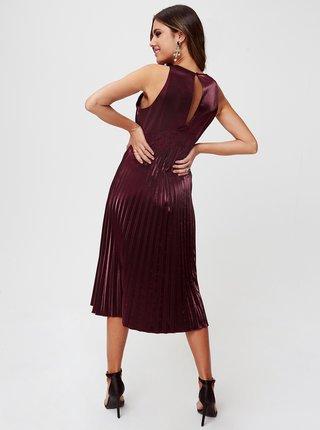 Vínové midišaty s plisovanou sukňou Little Mistress