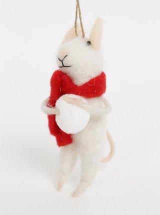 Bílá vánoční závěsná vlněná dekorace ve tvaru myši Sass & Belle