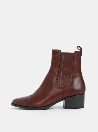 Tmavě hnědé dámské kožené chelsea boty Vagabond Marja