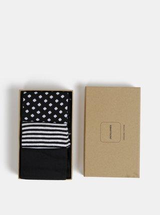 Sada troch párov čiernych vzorovaných ponožiek Jack & Jones Organic
