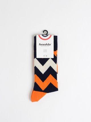Oranžové vzorované ponožky Fusakle Cikcak tmavy