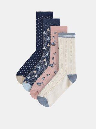 Sada štyroch párov ponožiek v modrej, rúžovej a krémovej farbe Something Special