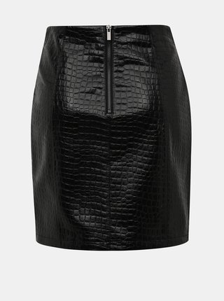 Černá koženková minisukně s krokodýlím vzorem VILA Crocodile