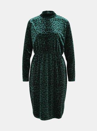 Tmavozelené sametové šaty s leopardím vzorom VILA Linao
