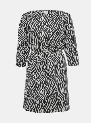 Šaty ve stříbrné a černé barvě se zebrovaným vzorem VILA Arna