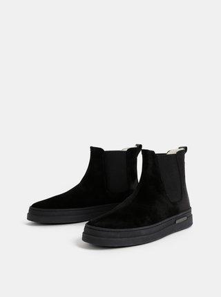 Černé pánské semišové zimní chelsea boty s vlněnou podšívkou GANT Creek