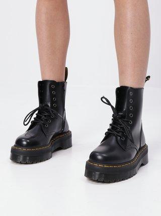Čierne dámske kožené členkové topánky na platforme Dr. Martens Jadon