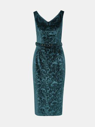 Modré květované sametové pouzdrové šaty Dorothy Perkins